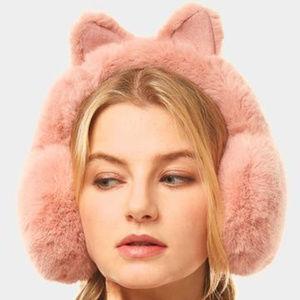Pink Solid Color Cat Ear Faux Fur Earmuffs